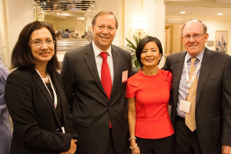 Cheryl de la Rey (Vice Chancellor and Principal of the University of Pretoria in South Africa, and Vice Chair of the Talloires Network Steering Committee), Eduardo Garrido, Reeta Roy (CEO of MasterCard Foundation), and Rob Hollister (Executive Director of the Talloires Network).