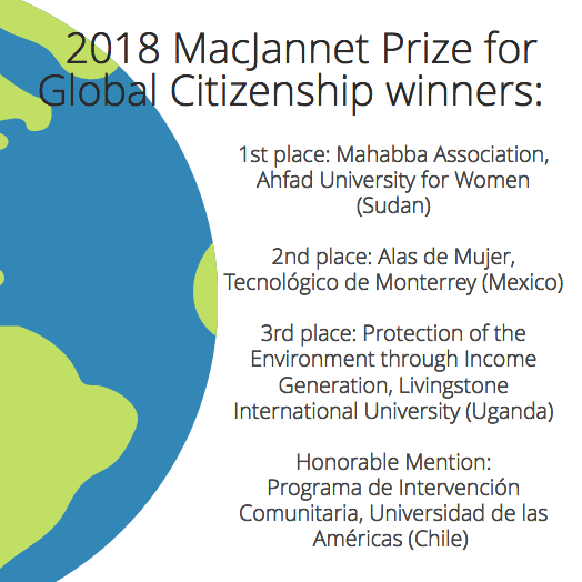 Learn about the 2018 MacJannet Prize for Global Citizenship Winners
